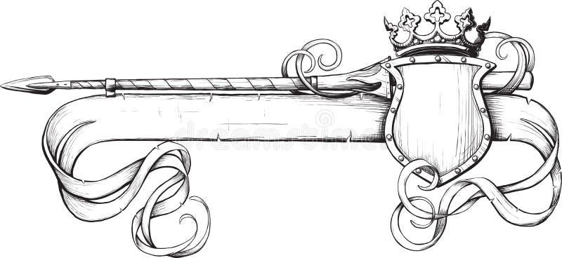 копье кроны знамени иллюстрация вектора