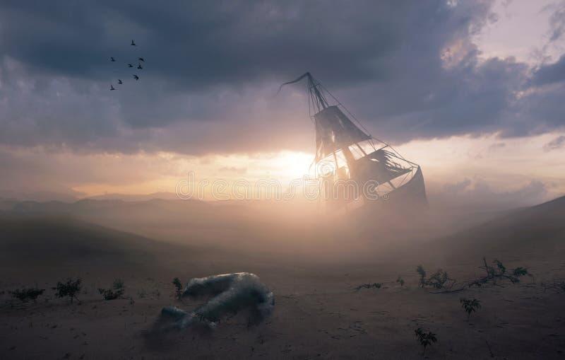 Кораблекрушение в пустыне стоковое изображение rf