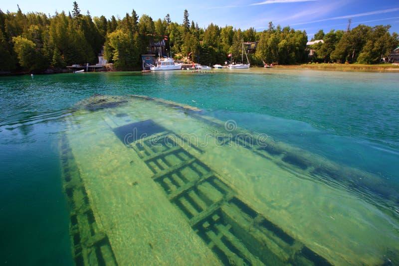 Кораблекрушение подводное в Lake Huron, Tobermory стоковое изображение rf