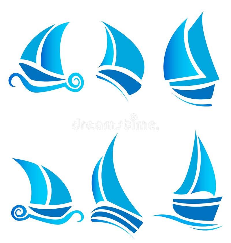 корабли круиза шлюпок установленные логосами иллюстрация вектора