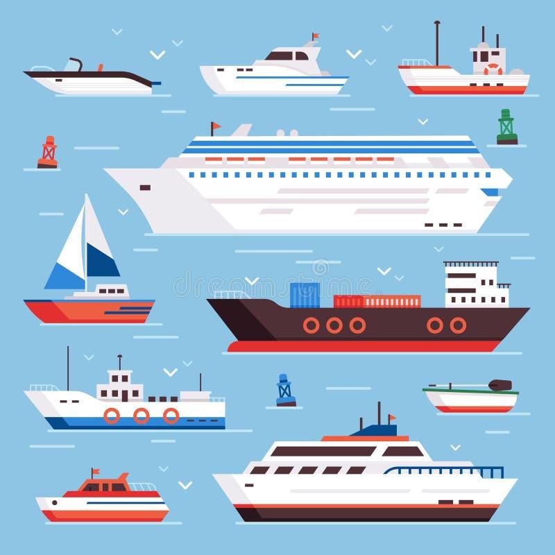 Корабли моря Корабль и рыбацкие лодки доставки военно-морского флота вкладыша круиза powerboat шлюпки шаржа изолировали вектор ви бесплатная иллюстрация