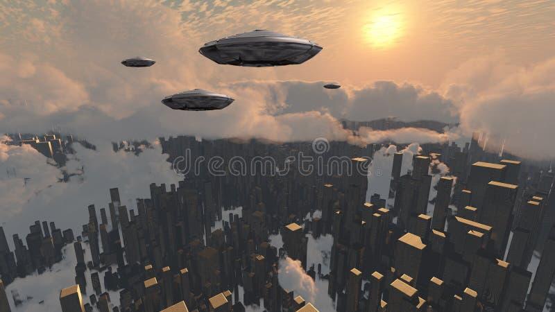 Корабли над городом бесплатная иллюстрация