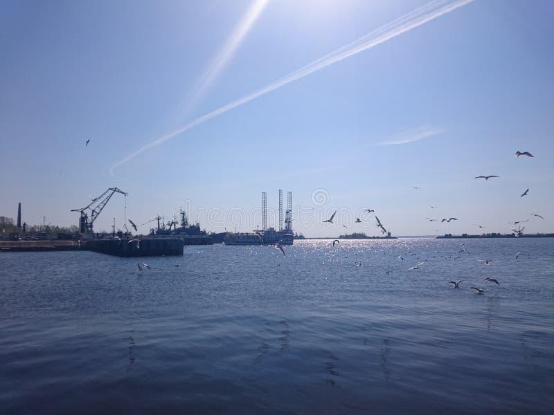 Корабли на воде в порте Kronstadt, ясном дне стоковые изображения