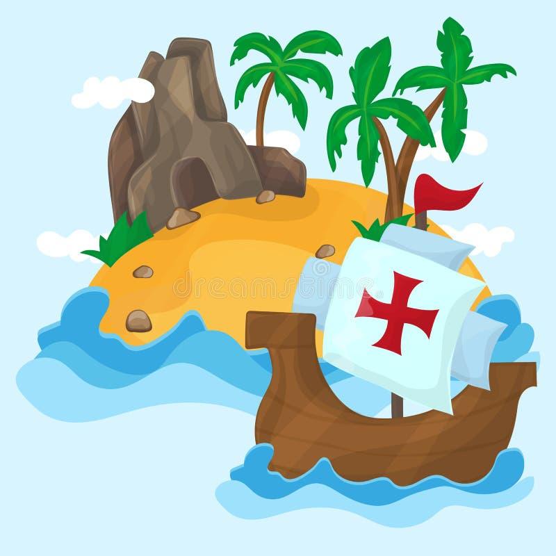 Корабли Christopher Columbus и тропического острова с ладонями в океане иллюстрация штока