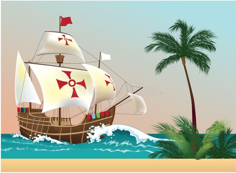 корабли columbus s иллюстрация штока