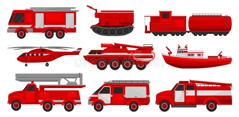 Корабли Firefighting установили, чрезвычайное обслуживани для иллюстраций вектора деятельности firefighting на белой предпосылке иллюстрация вектора