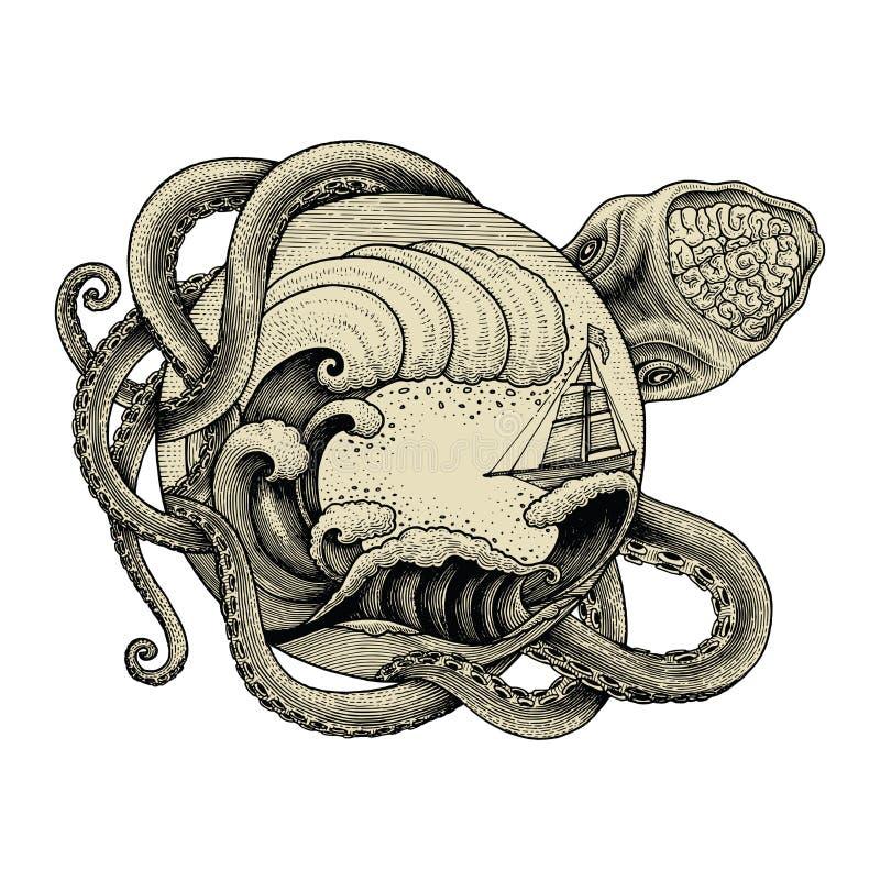 Корабль гигантского осьминога атакуя и большая океанская волна вручают vin чертежа иллюстрация вектора