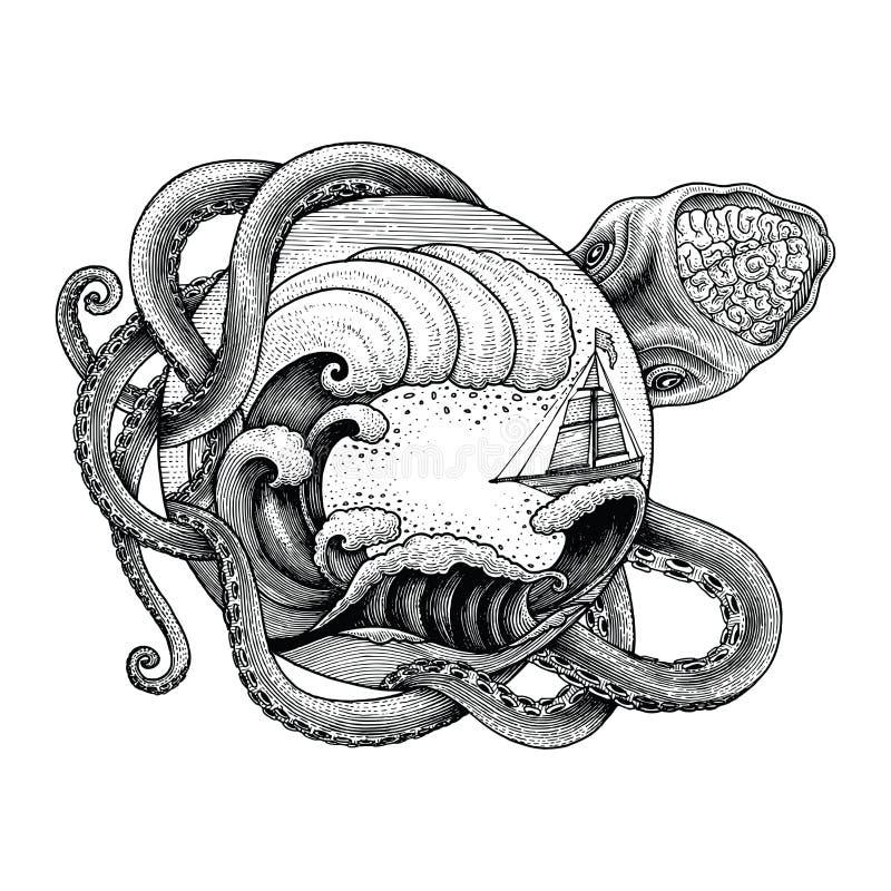 Корабль гигантского осьминога атакуя и большая океанская волна вручают vin чертежа иллюстрация штока