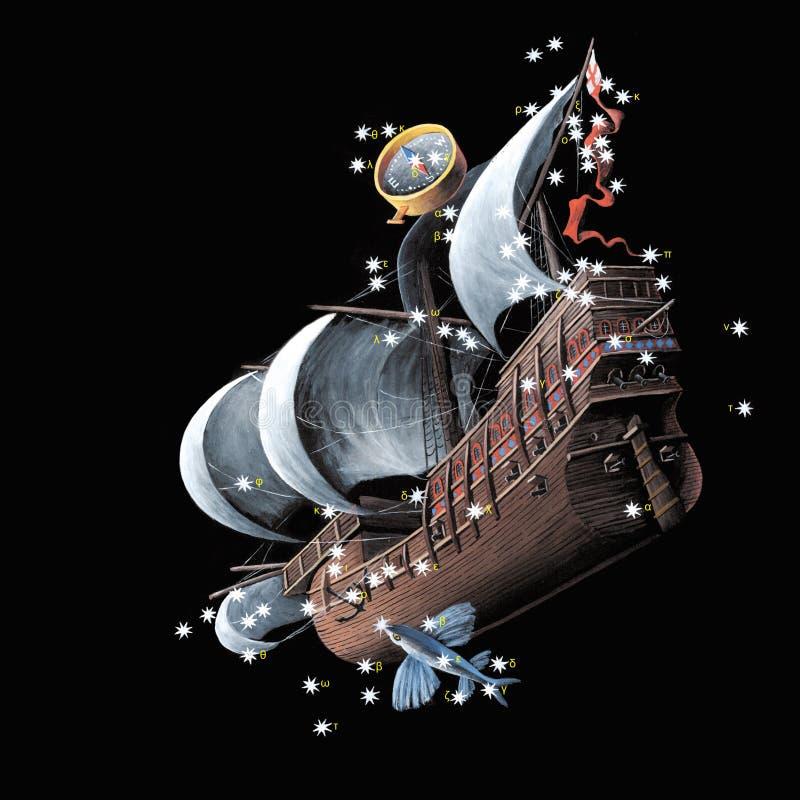 корабль киля созвездий carina argo иллюстрация штока