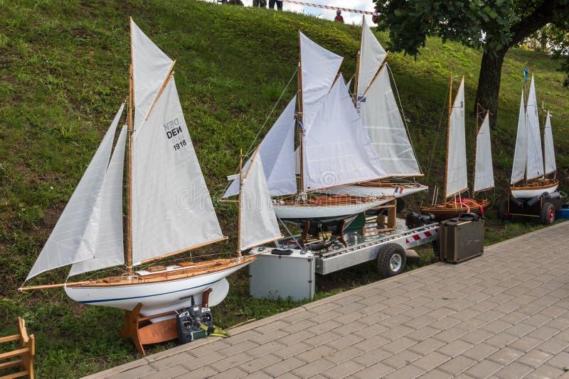 Корабль масштаба пульта дистанционного управления на конкуренциях стоковое фото
