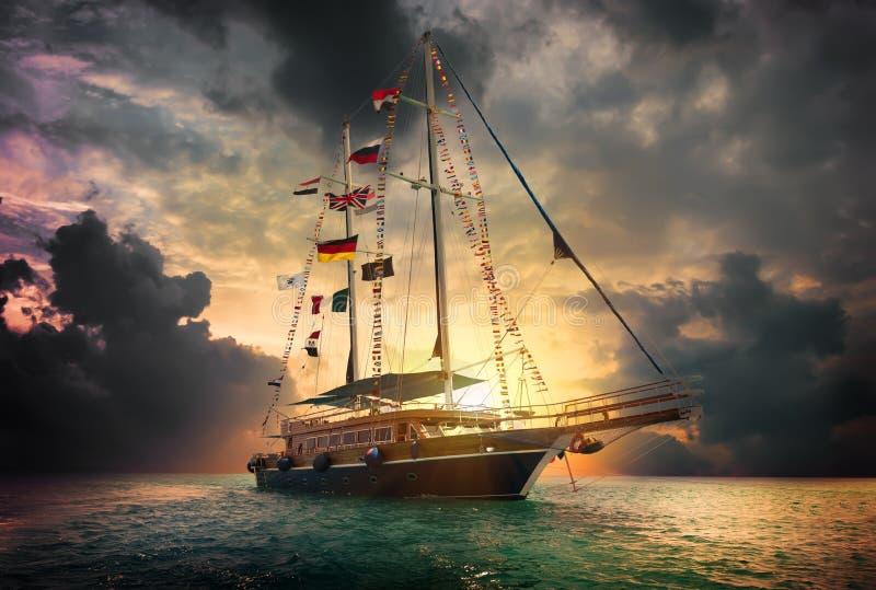 корабль моря sailing ландшафта 3d стоковое изображение rf