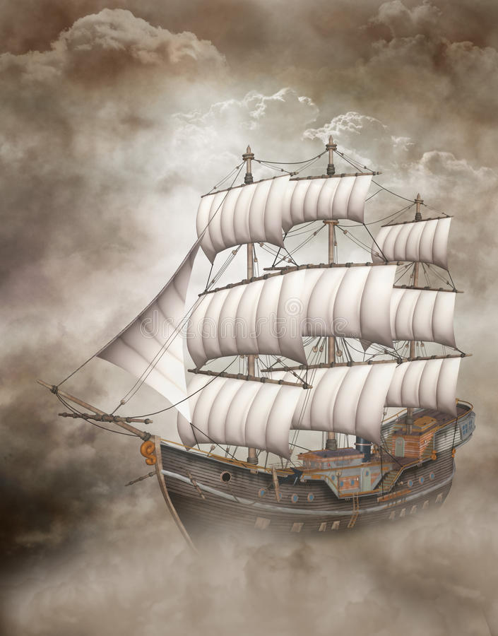 корабль облака иллюстрация вектора