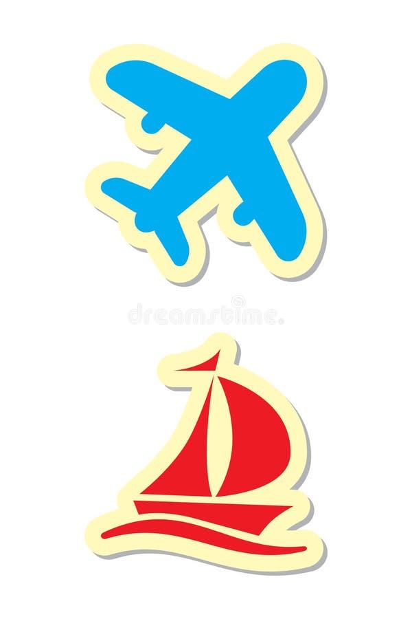 корабль плоскости икон иллюстрация вектора