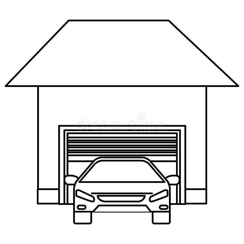 Корабль седана автомобиля со зданием гаража иллюстрация вектора