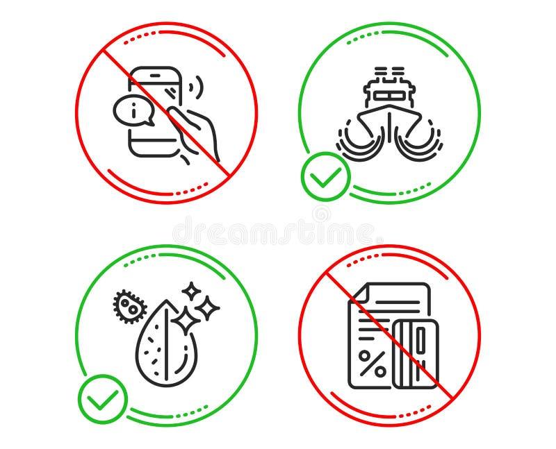 Корабль, центр телефонного обслуживания и грязный набор значков воды Знак кредитной карточки Грузя watercraft, поддержка телефона стоковые изображения