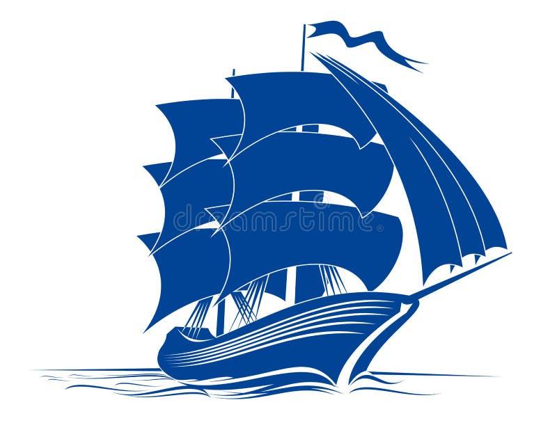 корабль brigantine иллюстрация вектора