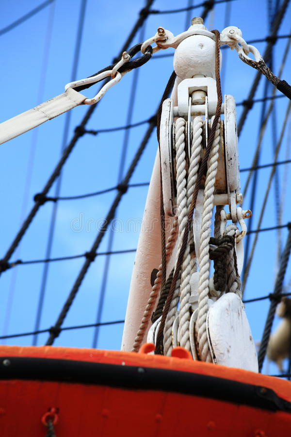корабль sailing веревочки рангоутов стоковое изображение