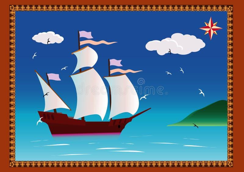 корабль sailing иллюстрация штока
