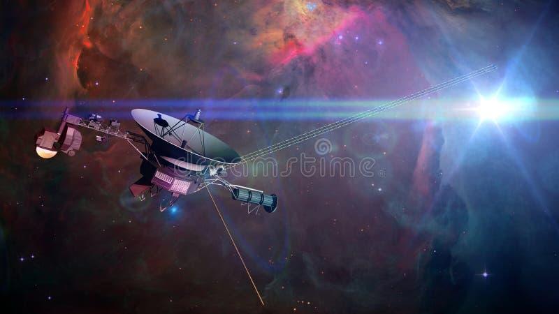 Корабль Voyager перед межзвёздным облаком в иллюстрации глубокого космоса 3d, элементах этого изображения поставлен NASA иллюстрация вектора
