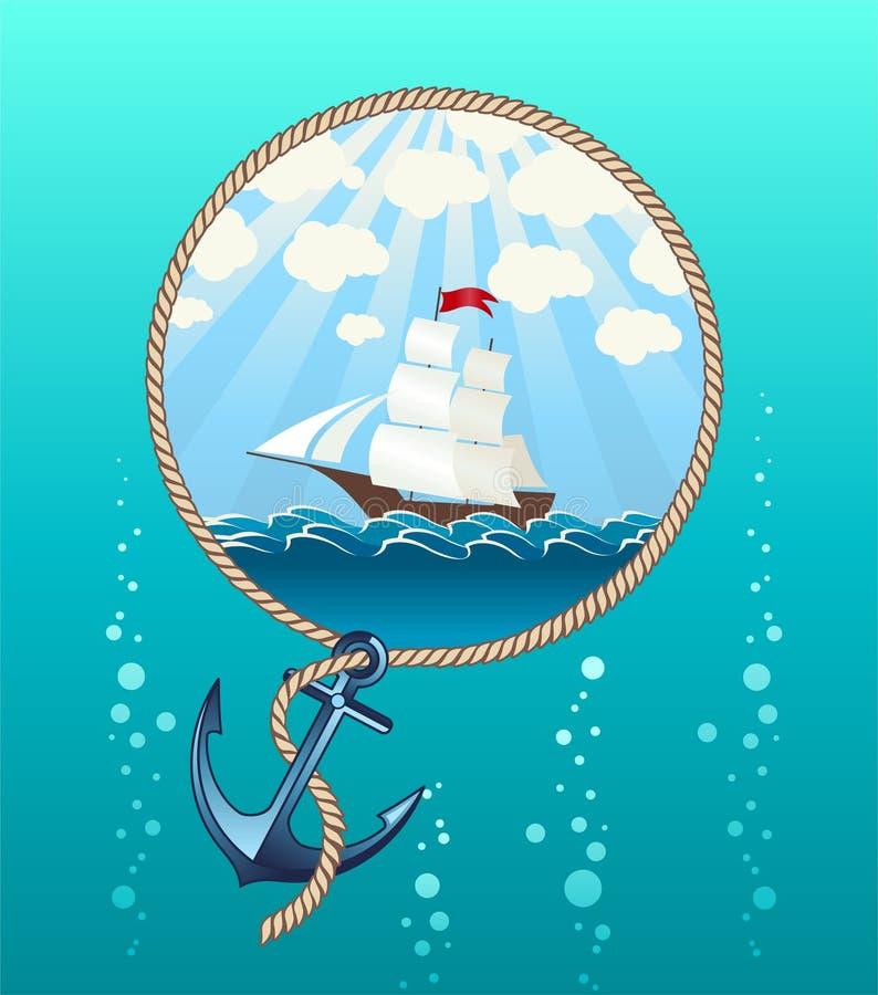 Корабль в море и анкере иллюстрация штока