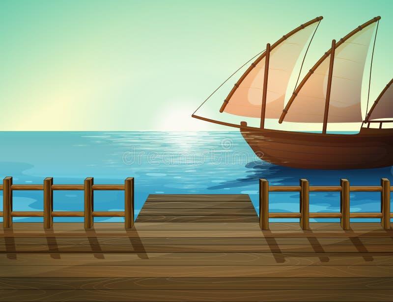 Корабль и морской порт иллюстрация штока