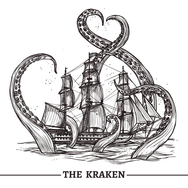 Корабль и осьминог иллюстрация вектора