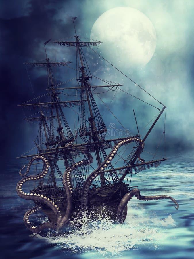 Корабль и щупальца иллюстрация штока