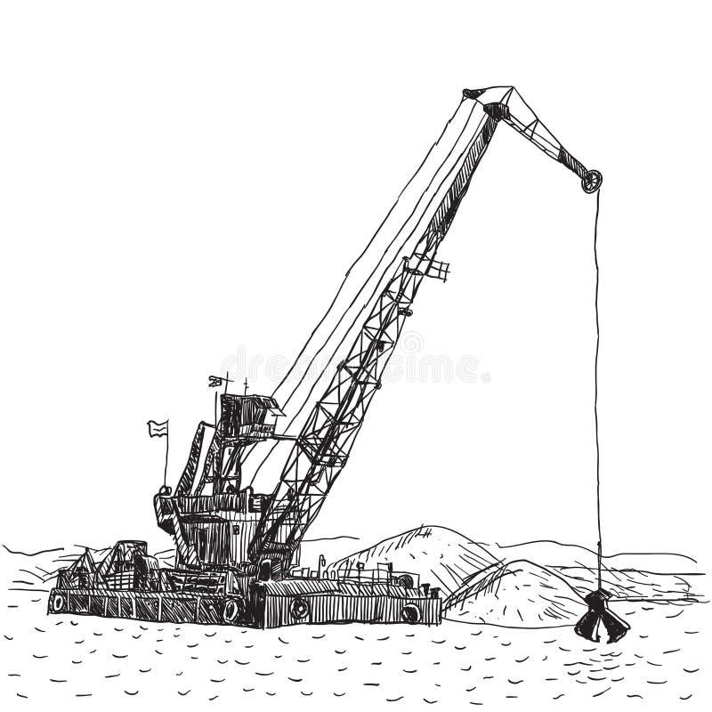 Корабль огромной баржи крана промышленный который песок раскопок, морской драгировать иллюстрация штока