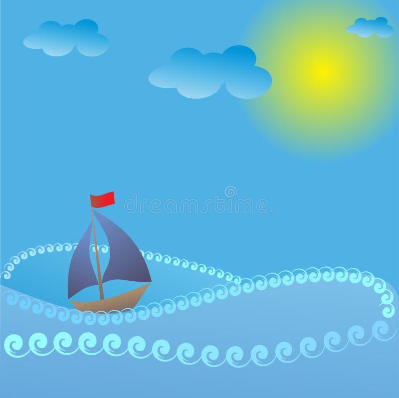 Корабль плавает на волнах в солнечном свете бесплатная иллюстрация
