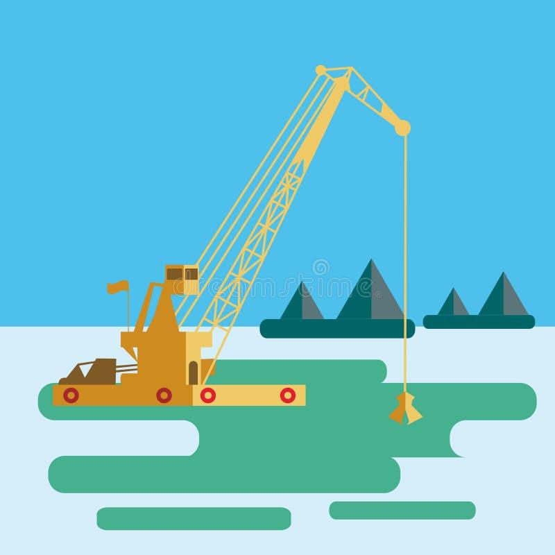 Корабль плоской огромной баржи крана промышленный что раскопки зашкурят дно моря морского пехотинца драгируя выкапывая вектор иллюстрация штока