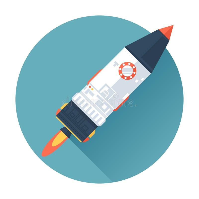 Корабль Ракеты космоса Начните вверх символ концепции Плоский стиль с длинными тенями Современный ультрамодный дизайн иллюстрация вектора