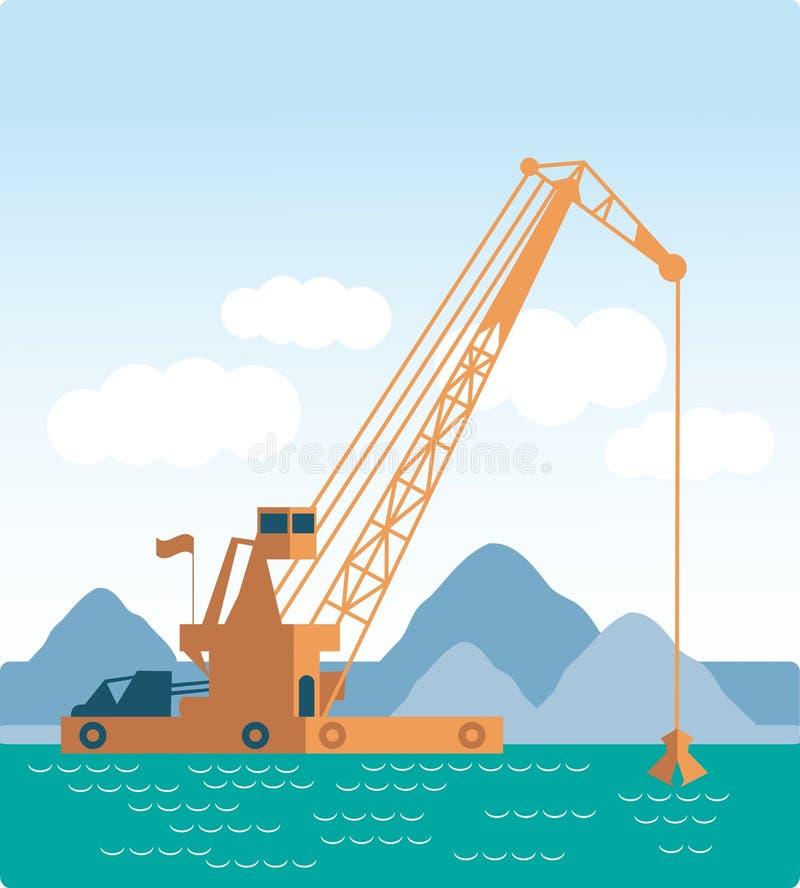 Корабль современной баржи крана стиля плоской огромной промышленный бесплатная иллюстрация
