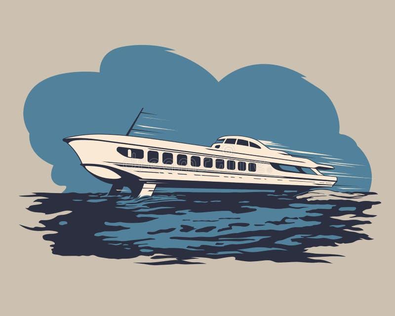 Корабль судна на подводных крыльях 1 иллюстрация вектора