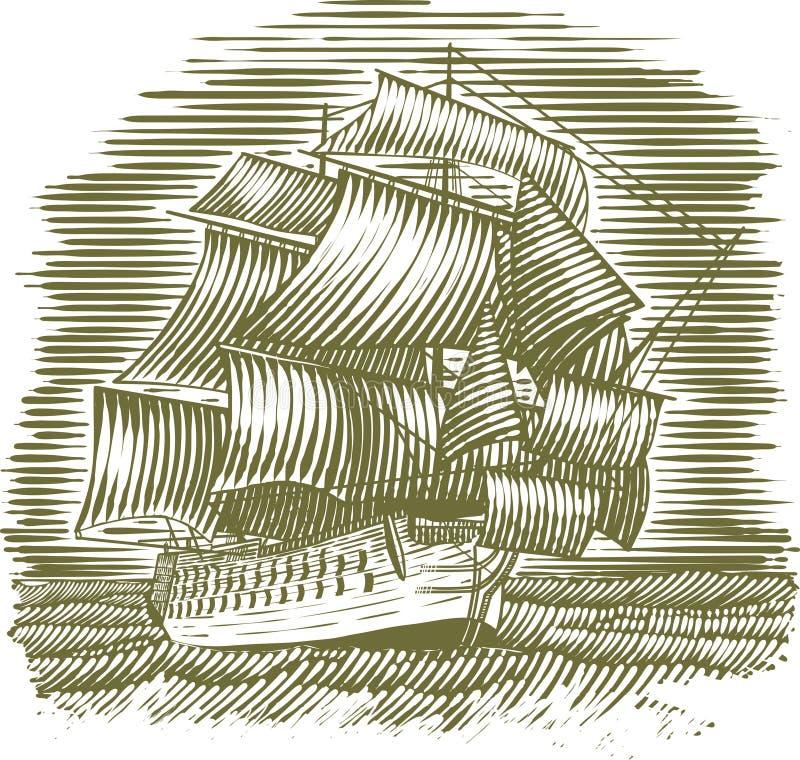 Корабль Woodcut иллюстрация штока