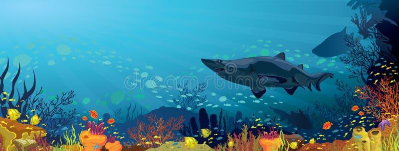 Коралловый риф с акулами и силуэтом рыб бесплатная иллюстрация