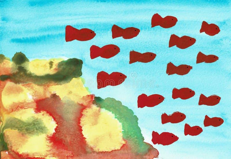 Коралловый риф с красными рыбами иллюстрация штока
