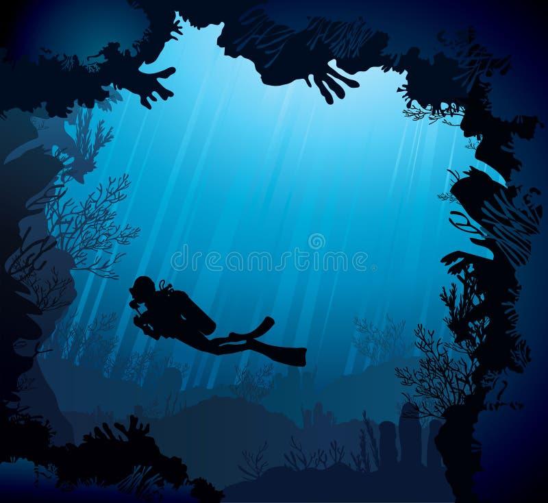 Коралловый риф с силуэтом водолаза бесплатная иллюстрация