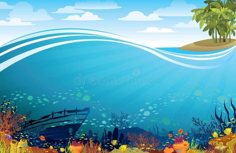 Коралловый риф с sunken кораблем под островом иллюстрация штока