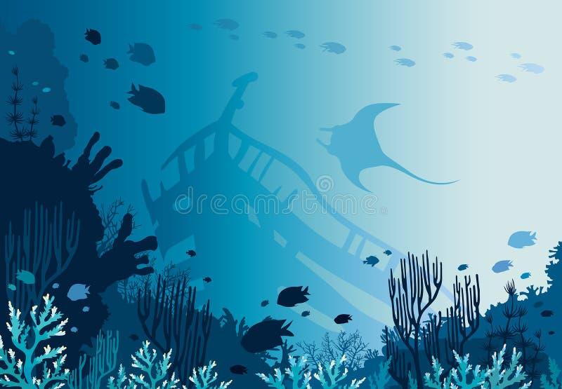 Коралловый риф, sunken корабль, manta и подводное море бесплатная иллюстрация