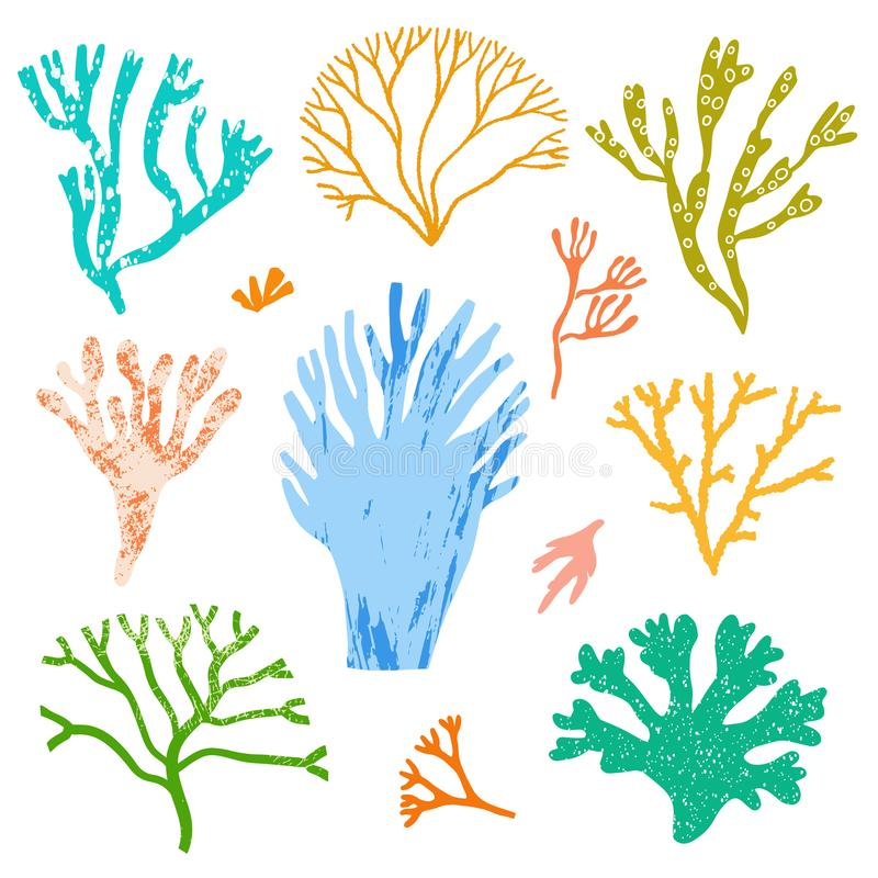 Кораллы вектора и морская водоросль, установленные водоросли Флора моря бесплатная иллюстрация