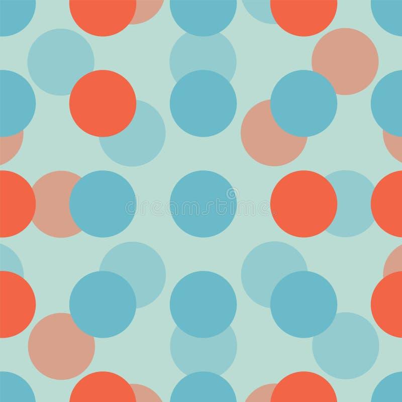 Коралл и голубые круги на светлом - картина голубой предпосылки безшовная иллюстрация штока
