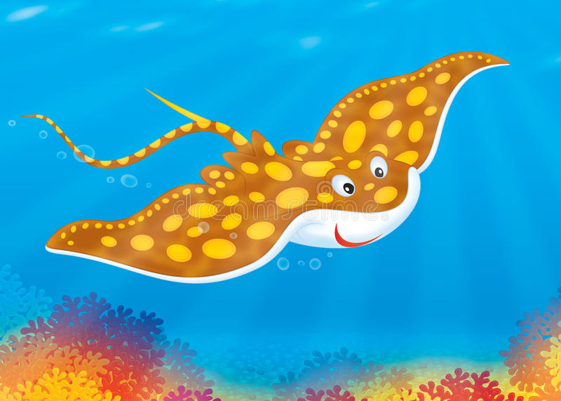 коралл над swims рифа луча иллюстрация штока