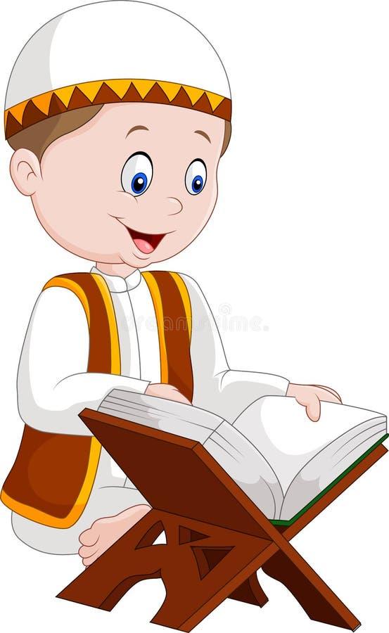 Коран чтения мальчика шаржа иллюстрация штока