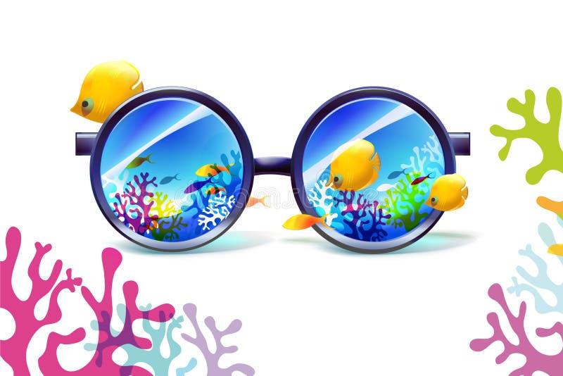 Коралловый риф в солнечных очках на белой предпосылке иллюстрация вектора