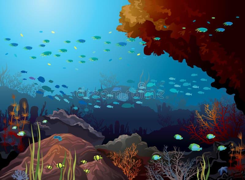 Коралловый риф и подводные твари. иллюстрация штока