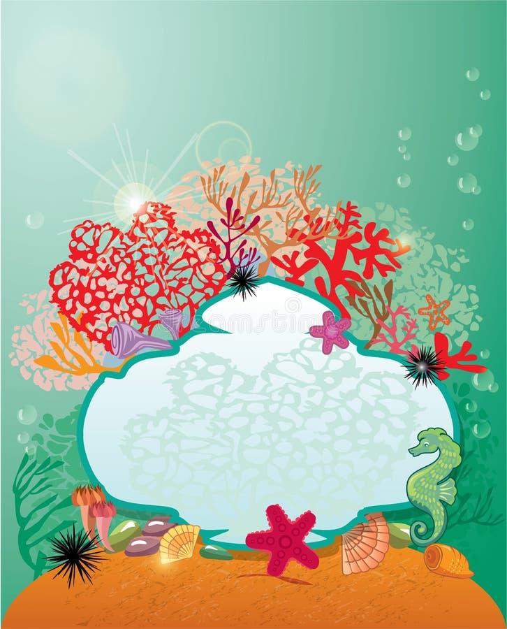 Коралловый риф рамки и и морская флора и фауна - предпосылка. иллюстрация штока