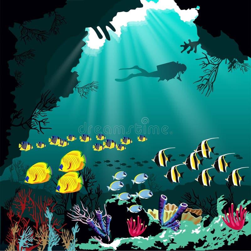 Коралловый риф с различным видом рыб и силуэта водолаза над голубой предпосылкой моря бесплатная иллюстрация