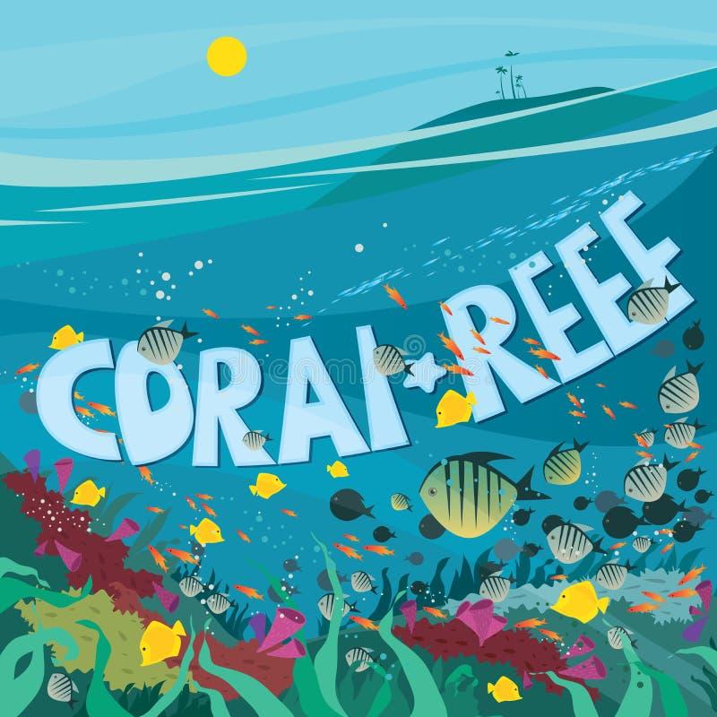 Коралловый риф с рыбами и морской водорослью иллюстрация штока