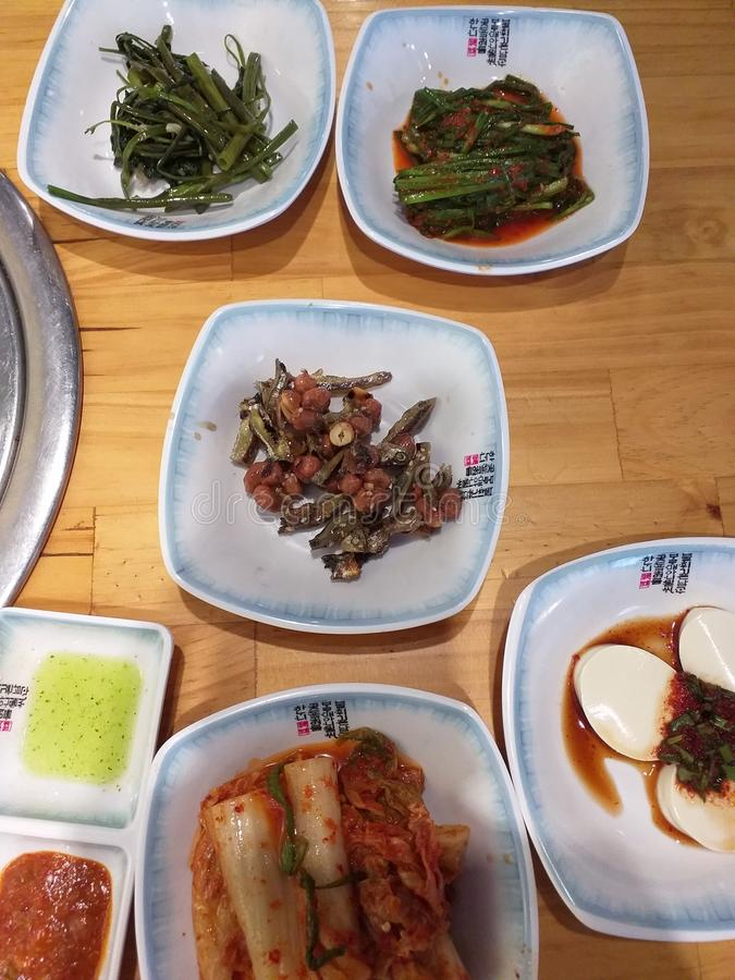 Корейская еда на обед стоковые фотографии rf