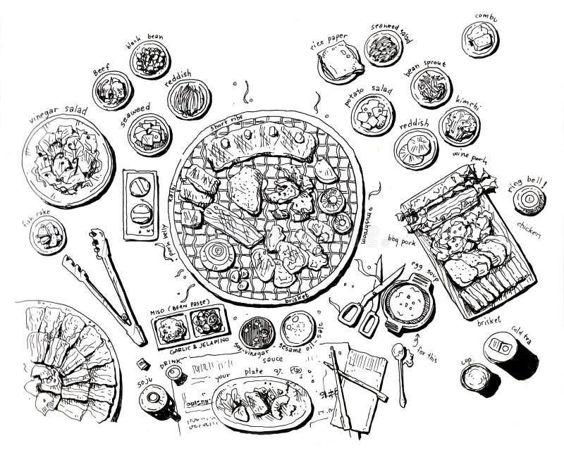 Очень вкусный корейская иллюстрация еды барбекю иллюстрация вектора